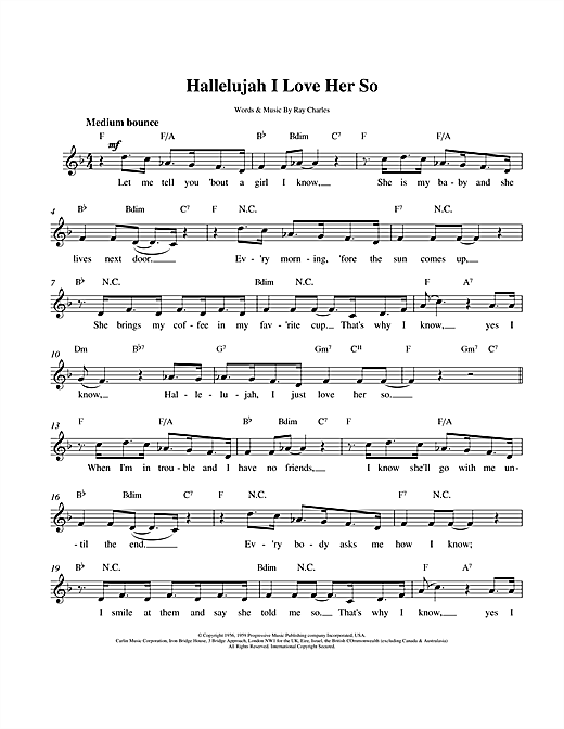 Hallelujah I Love Her So sheet music