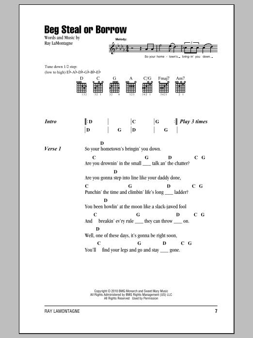 Beg Steal Or Borrow sheet music