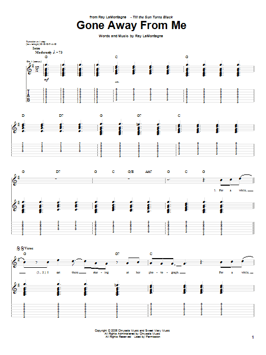 Gone Away From Me sheet music