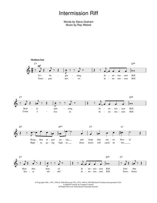 Intermission Riff sheet music