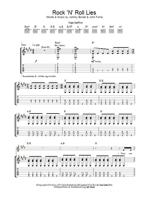 Rock 'n' Roll Lies sheet music