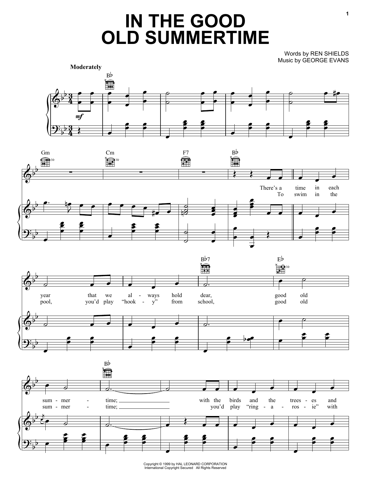In The Good Old Summertime sheet music