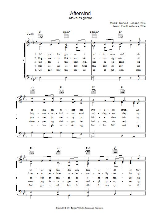 Aftenvind - Afsvales Gerne sheet music