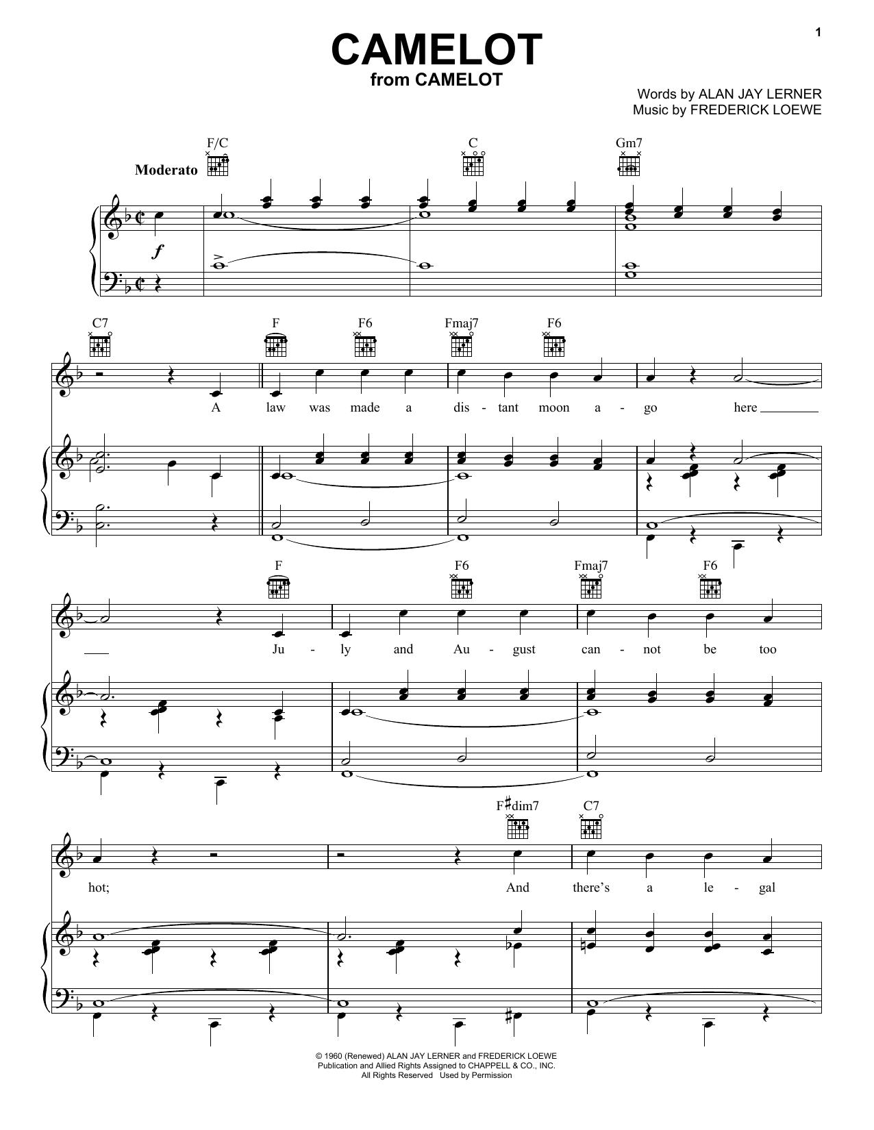 Camelot sheet music