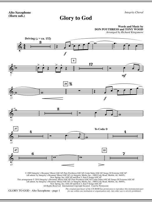 Glory To God - Alto Sax (Horn sub.) sheet music