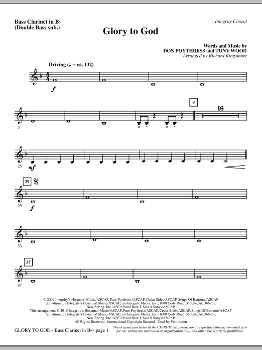 Glory To God - Bass Clar. (Double Bass sub.) sheet music