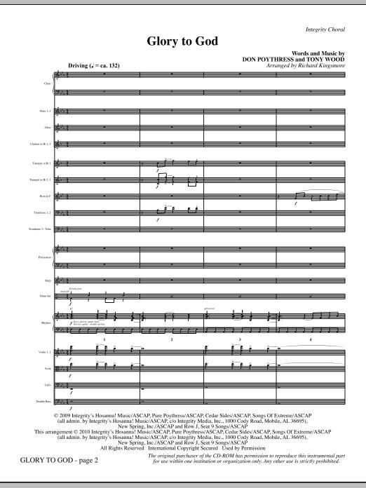 Glory To God - Full Score sheet music