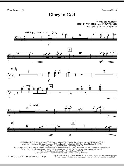 Glory To God - Trombone 1 & 2 sheet music
