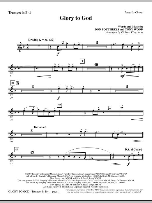 Glory To God - Trumpet 1 sheet music