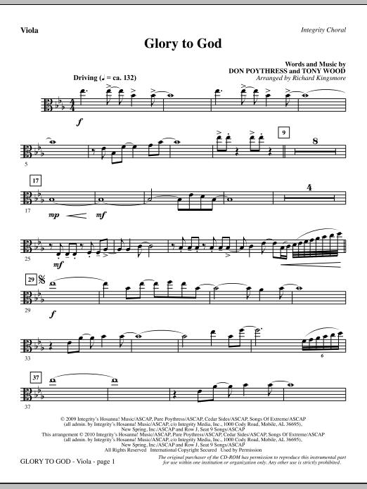 Glory To God - Viola sheet music