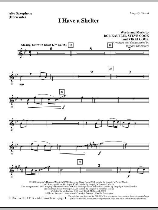I Have A Shelter - Alto Sax (sub. Horn) sheet music