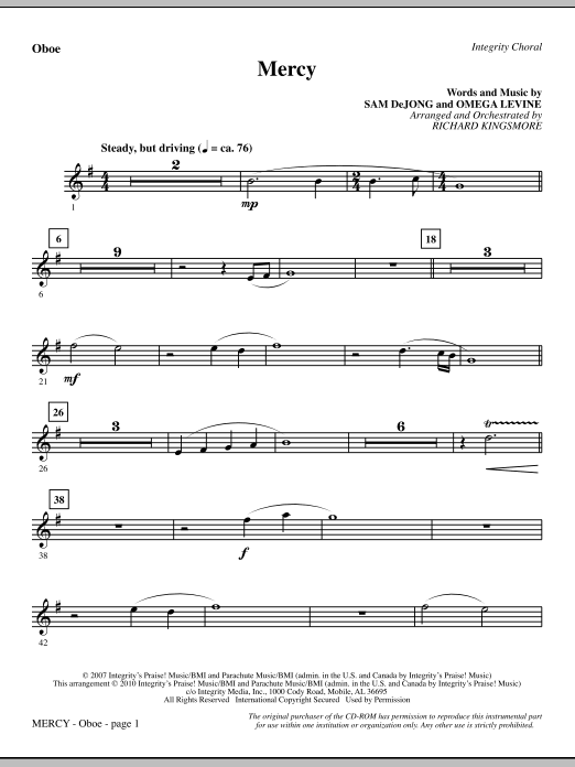 Mercy - Oboe sheet music