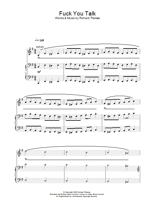 Fuck You Talk (from Jerry Springer The Opera) sheet music