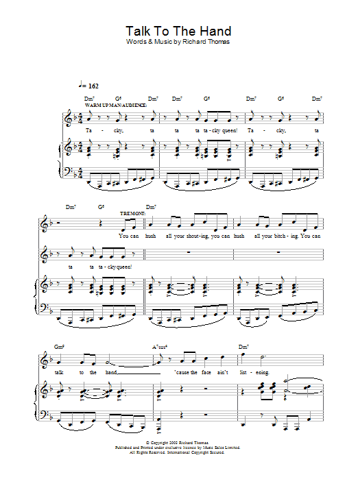Talk To The Hand (from Jerry Springer The Opera) sheet music