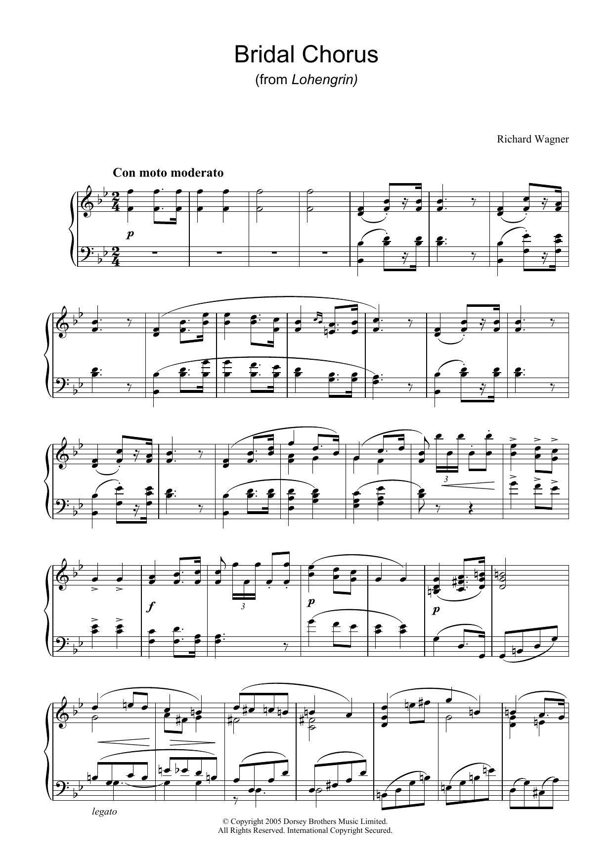 Bridal Chorus (from Lohengrin) sheet music
