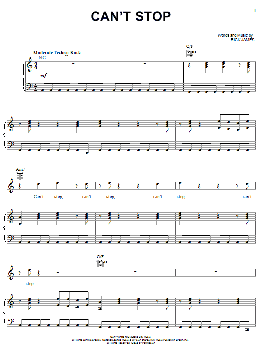 Can't Stop sheet music