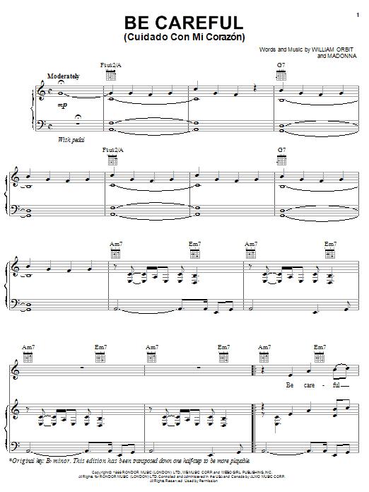 Be Careful (Cuidado Con Mi Corazon) sheet music