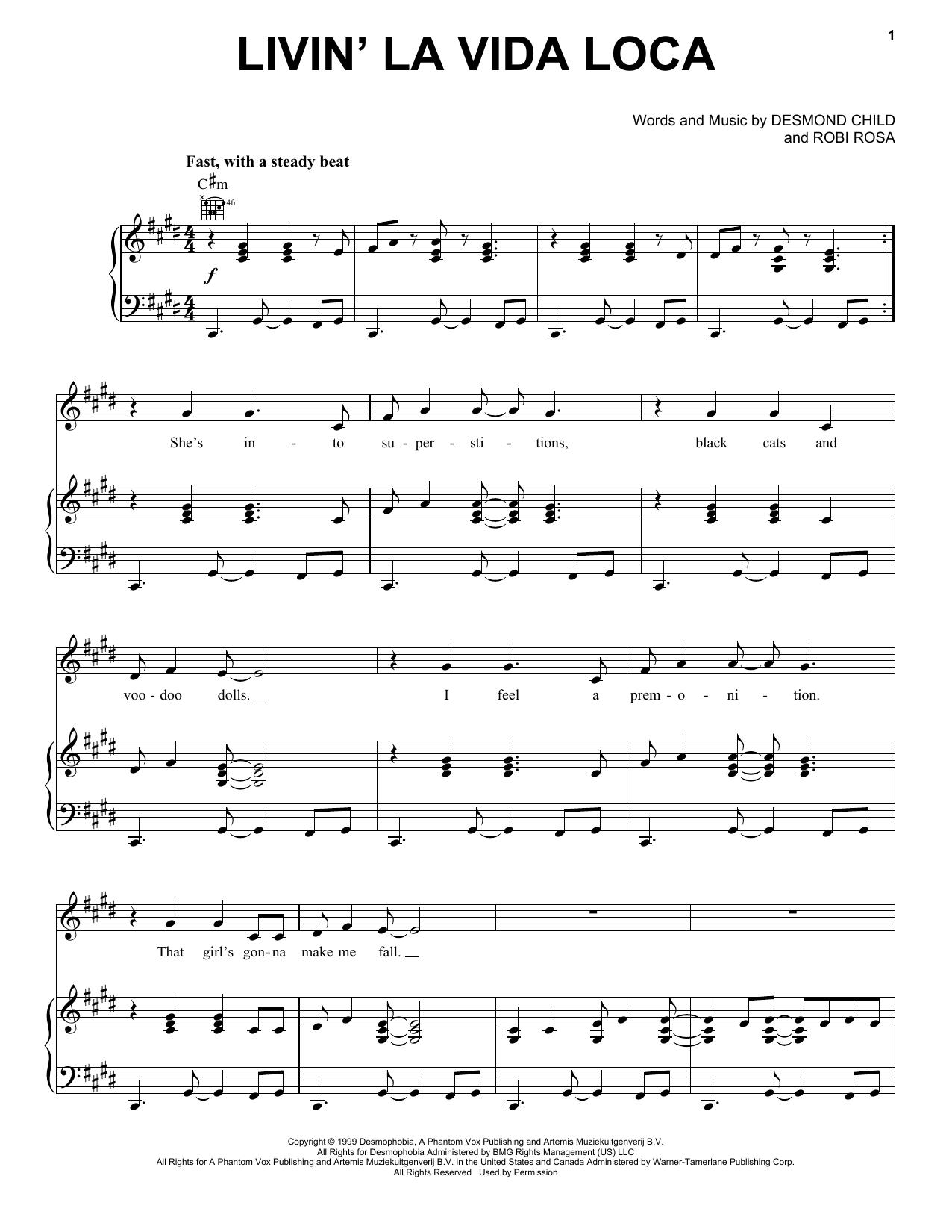 Livin' La Vida Loca sheet music