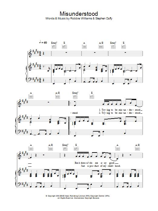 Misunderstood sheet music