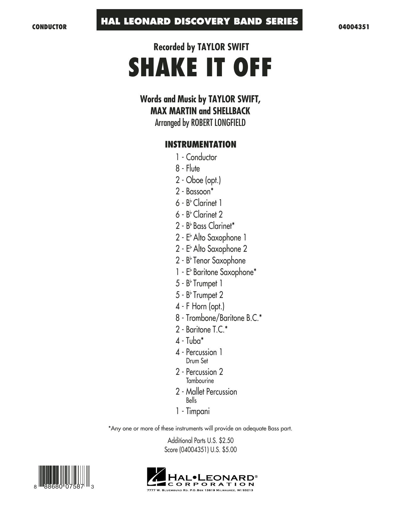 Shake It Off - Conductor Score (Full Score) sheet music