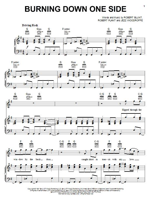 Burning Down One Side sheet music
