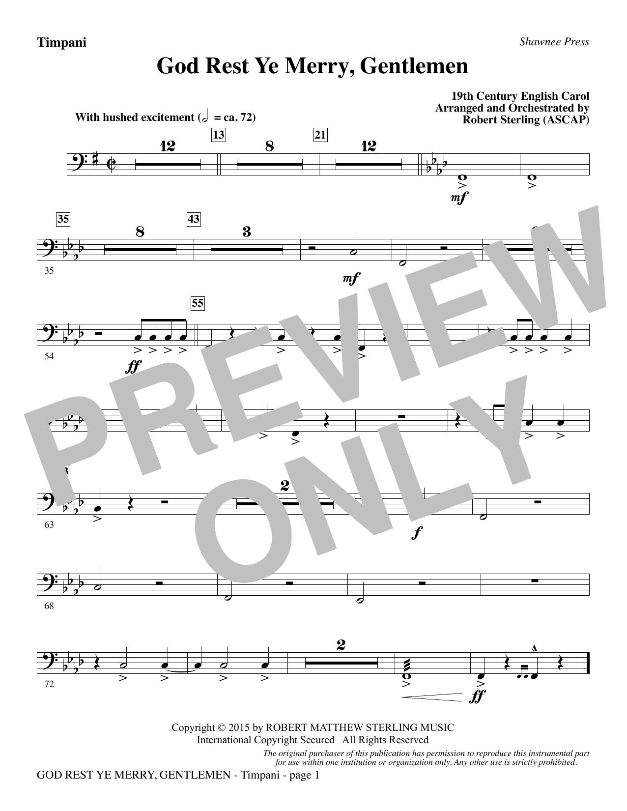 God Rest Ye Merry, Gentlemen - Timpani sheet music