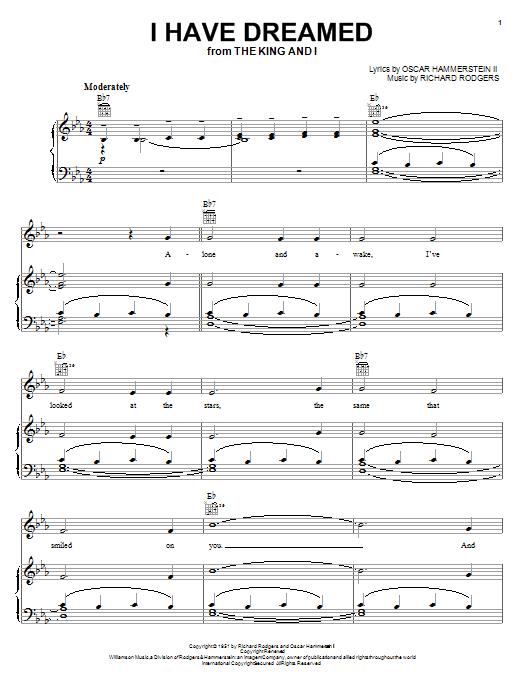 I Have Dreamed sheet music
