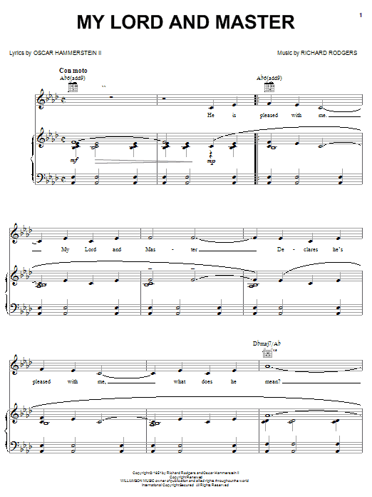 My Lord And Master sheet music