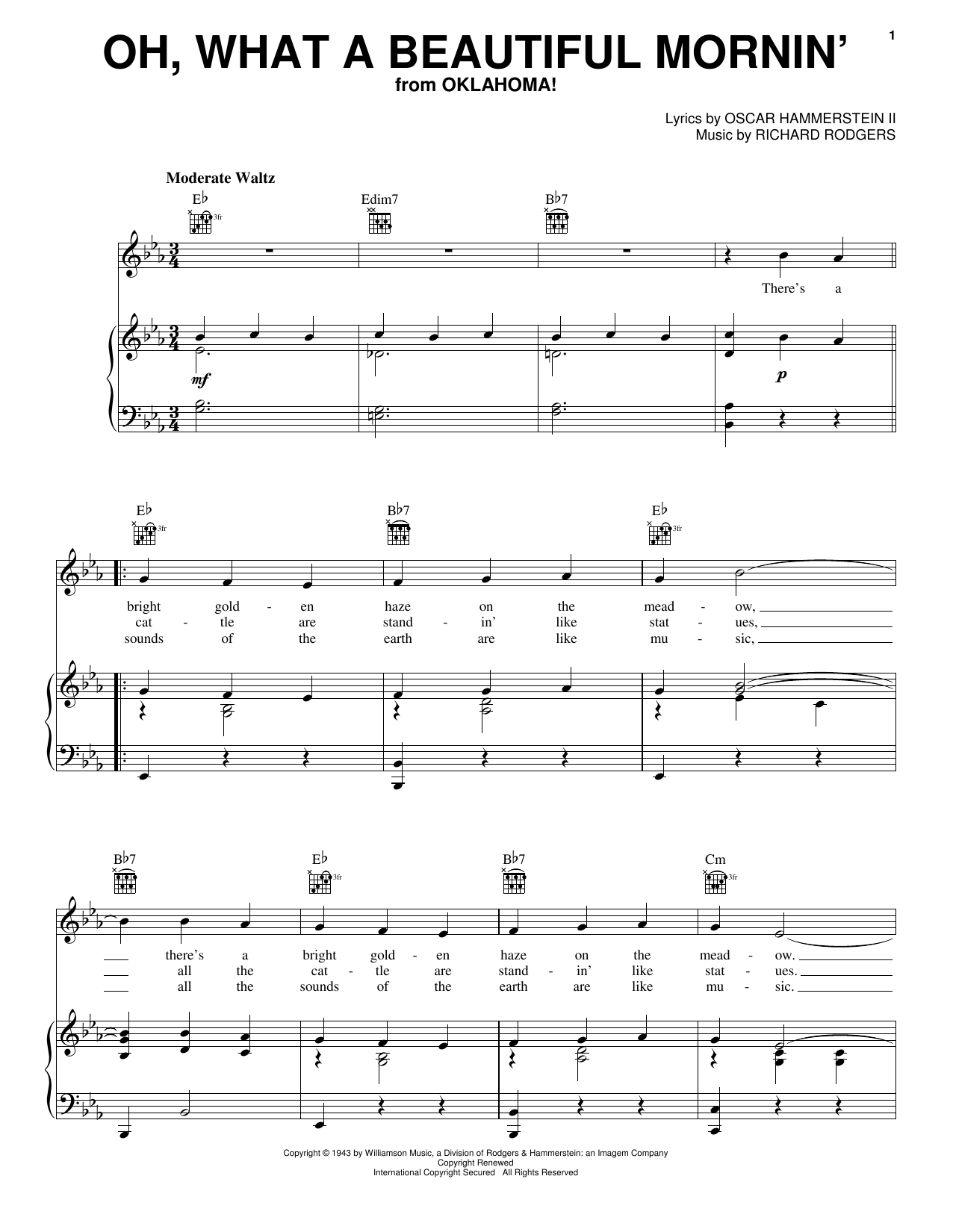 Oh, What A Beautiful Mornin' (from Oklahoma!) sheet music