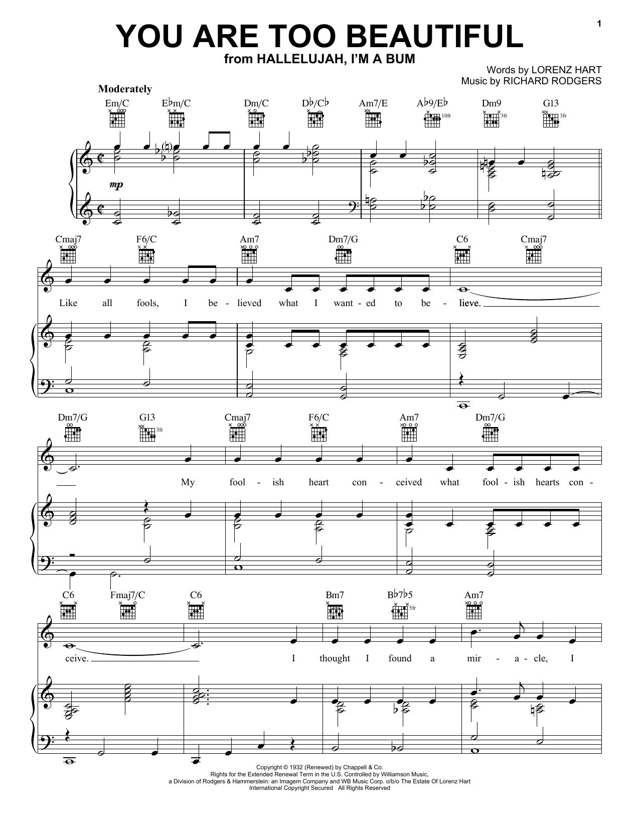 You Are Too Beautiful sheet music
