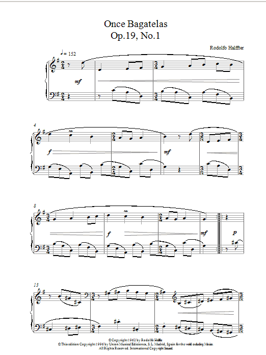 Once Bagatelas Op19 No1 sheet music