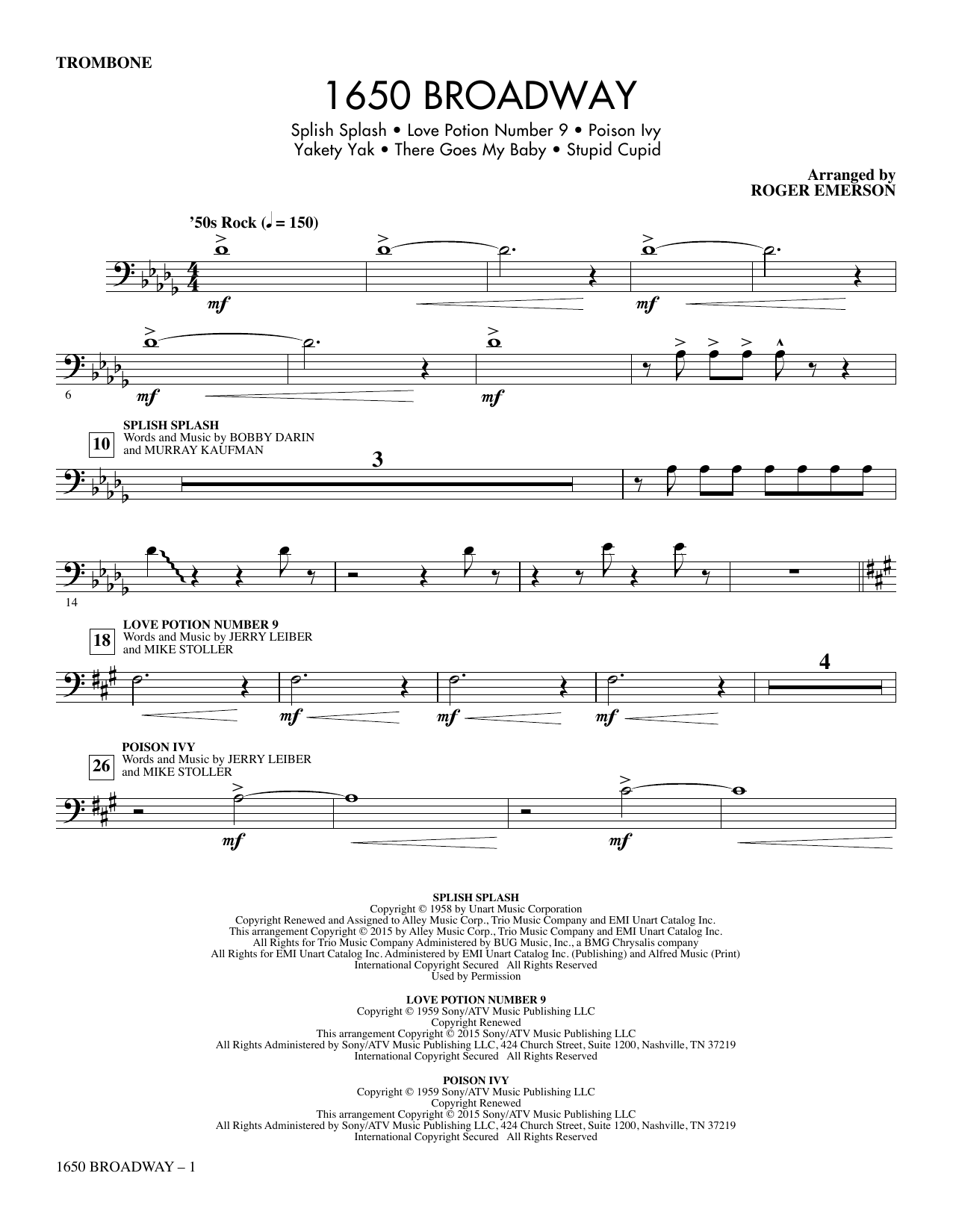 1650 Broadway (Medley) - Trombone sheet music