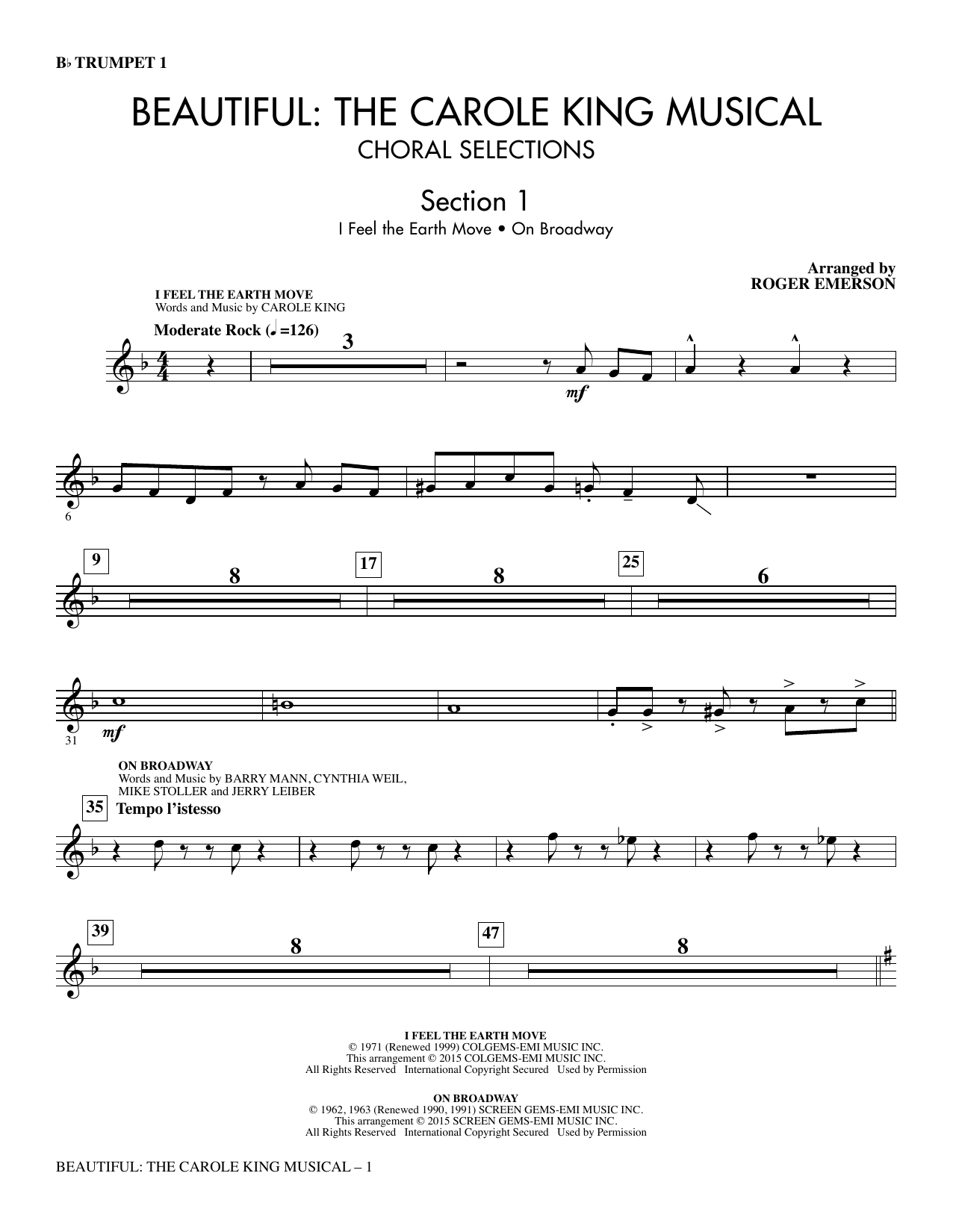 Beautiful: The Carole King Musical (Choral Selections) - Trumpet 1 sheet music