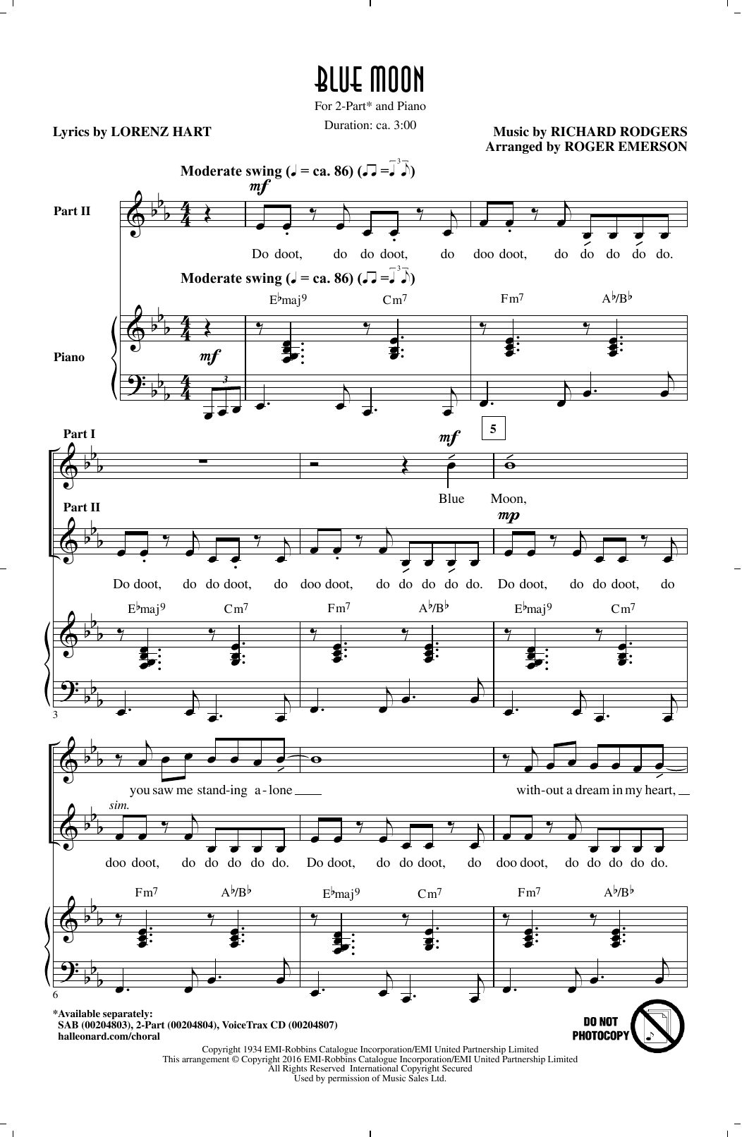 Blue Moon sheet music