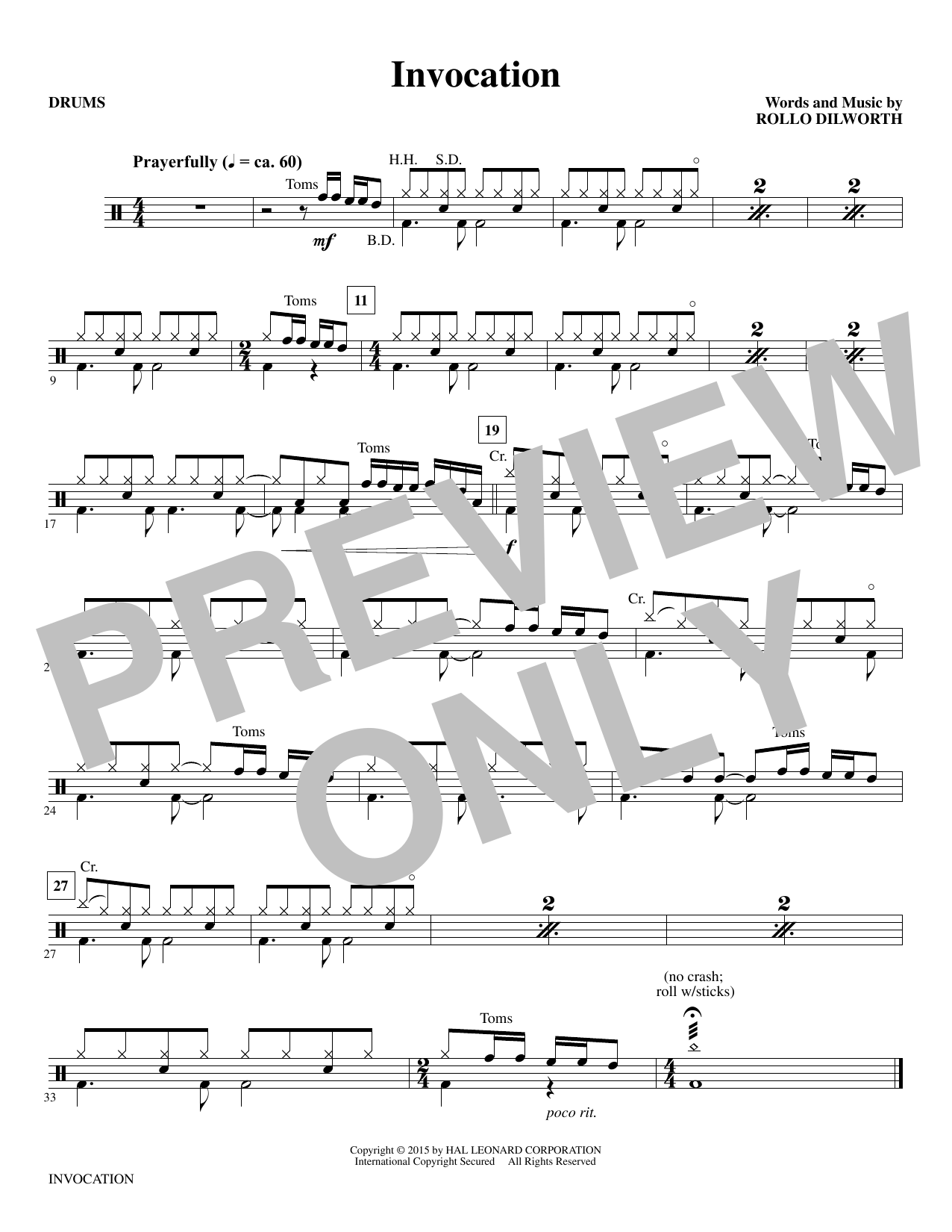 Invocation - Drums sheet music