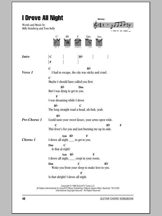 I Drove All Night sheet music