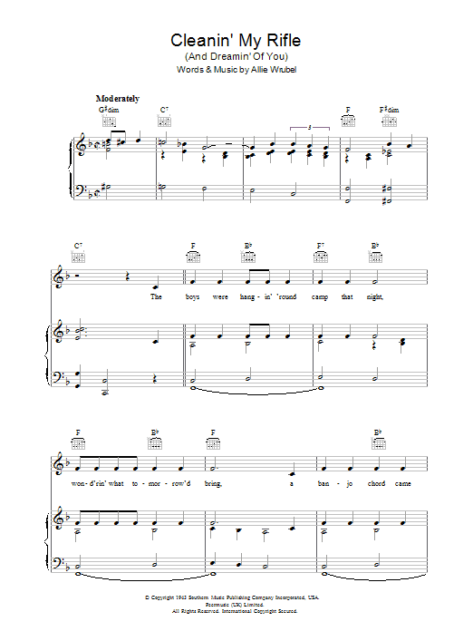 Cleanin' My Rifle (And Dreamin' Of You) sheet music