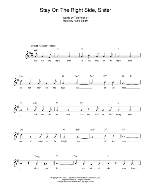 Stay On The Right Side Sister sheet music