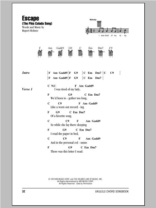 Escape (The Piña Colada Song) sheet music
