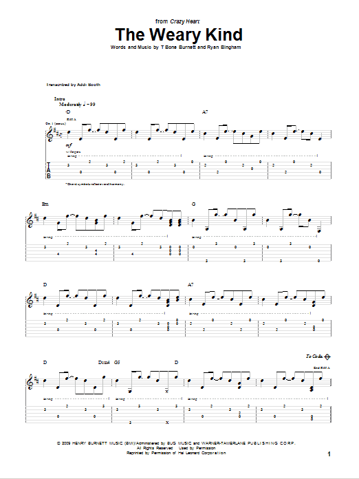 The Weary Kind (Theme From Crazy Heart) sheet music