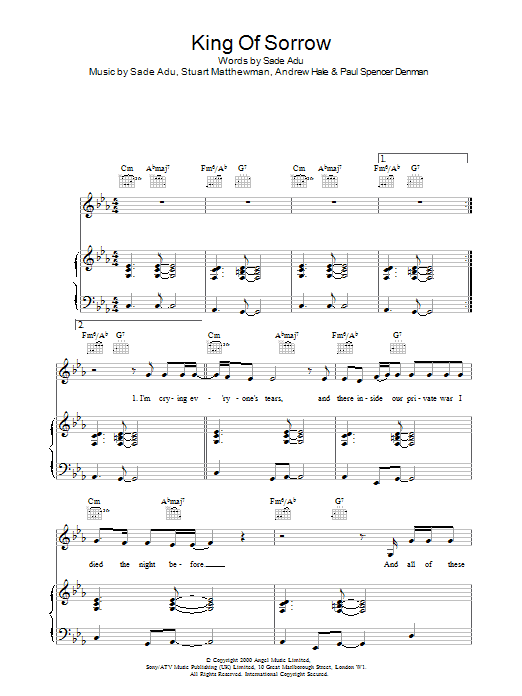 King Of Sorrow sheet music