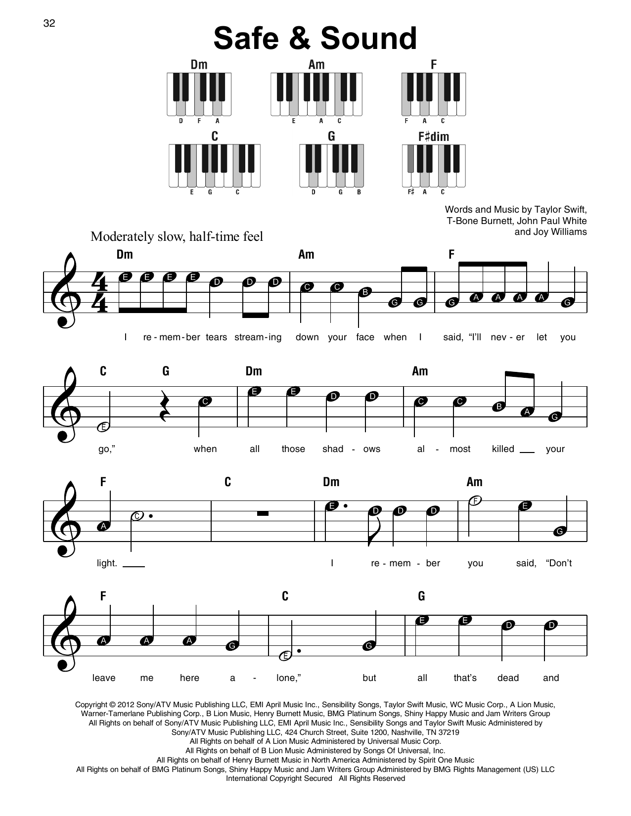 Taylor Swift Safe Sound Feat The Civil Wars From The Hunger Games Sheet Music Download Pdf Score 163703