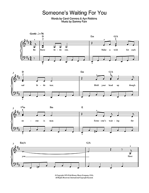 Someone's Waiting For You (from Disney's The Rescuers) sheet music