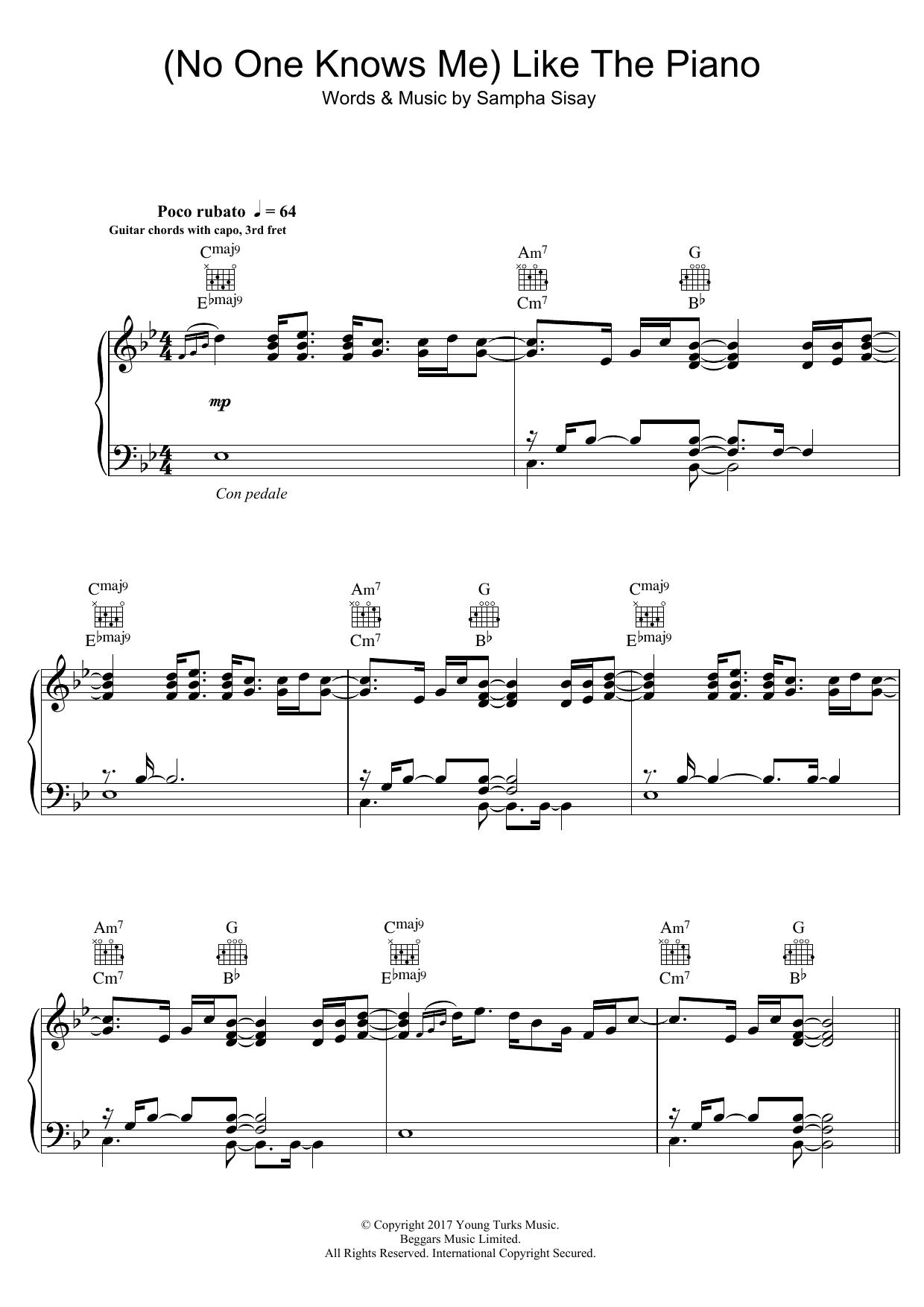 Sampha 'No One Knows Me Like The Piano' Sheet Music Notes, Chords    Download Printable Piano, Vocal & Guitar Right Hand Melody   SKU 15