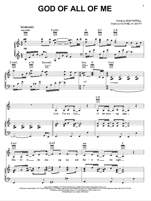 God Of All Of Me sheet music
