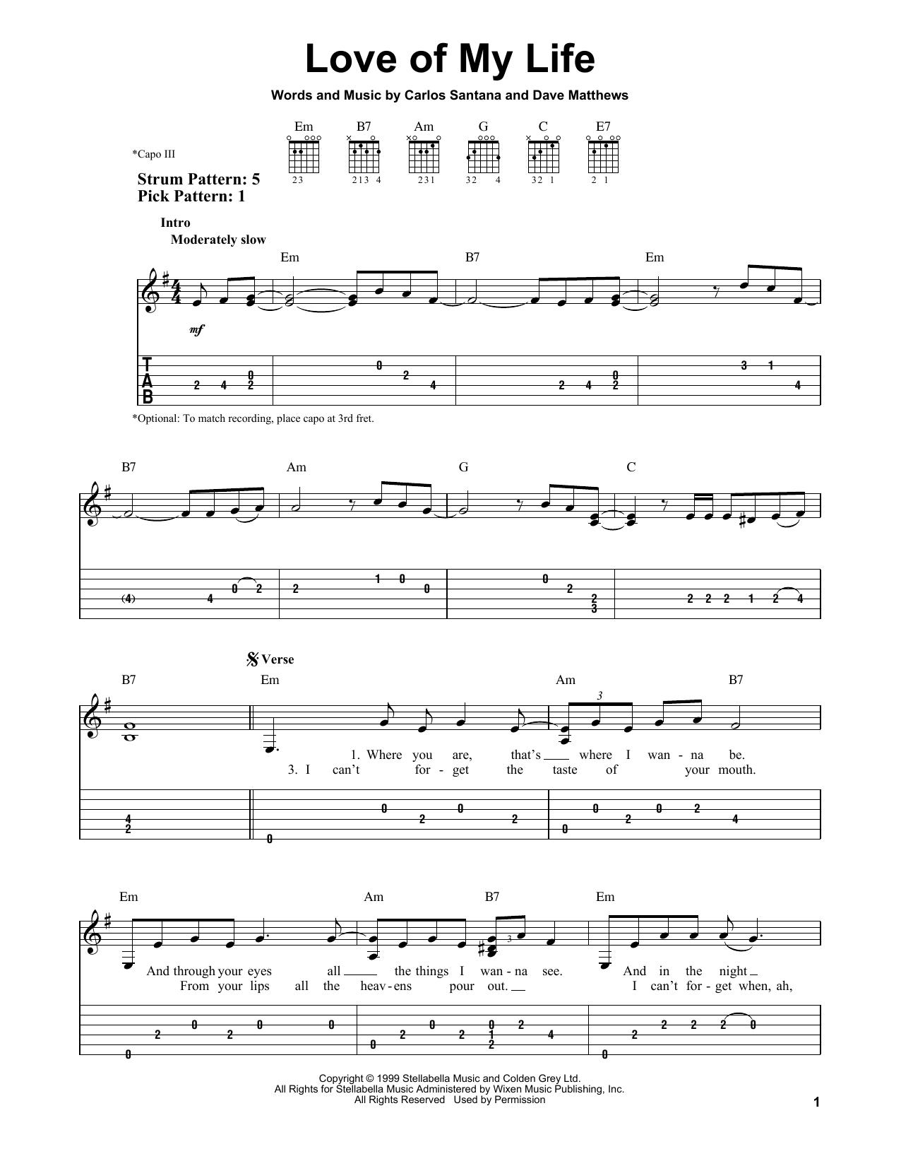 Love Of My Life (feat. Dave Matthews) sheet music