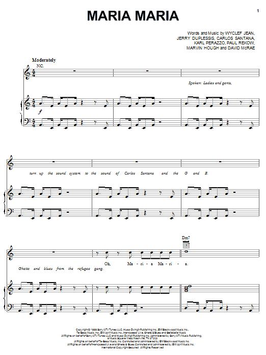 Maria Maria sheet music