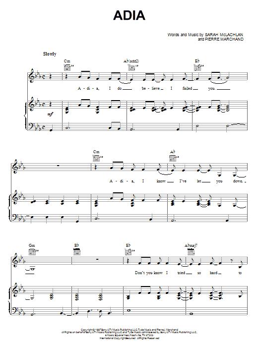Adia sheet music