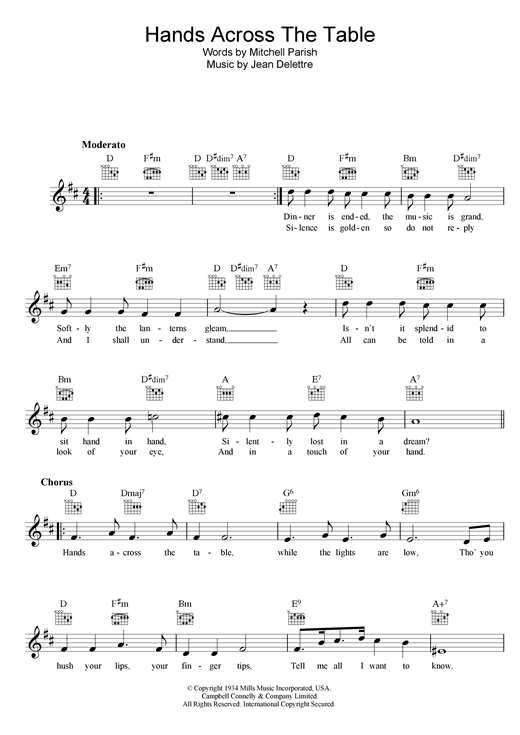 Hands Across The Table sheet music