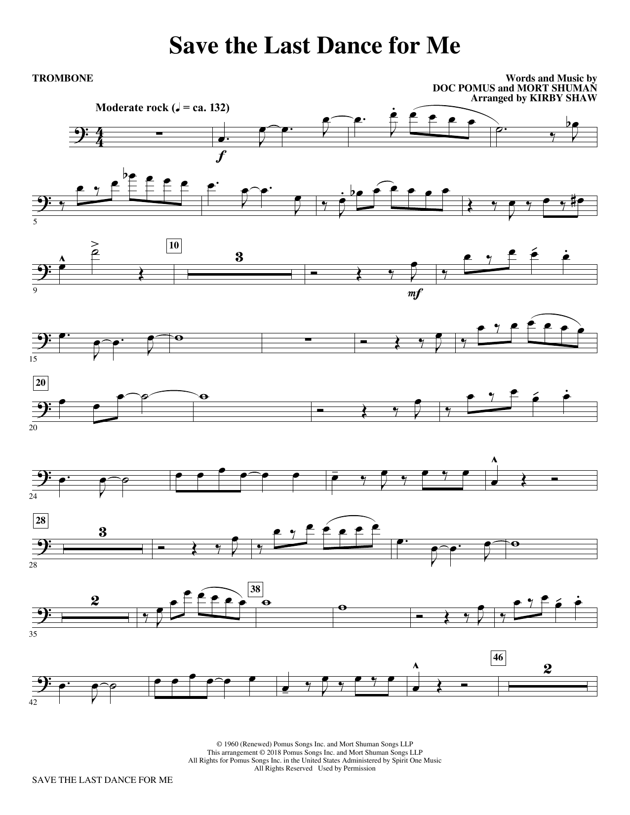 The Drifters Save The Last Dance For Me Arr Kirby Shaw Trombone Sheet Music Download Pdf Score 379910
